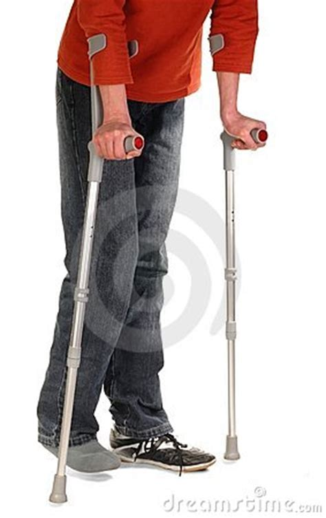 person  crutches royalty  stock images image