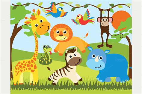 safari animals clip safari clipart baby animal pencil and in color safari