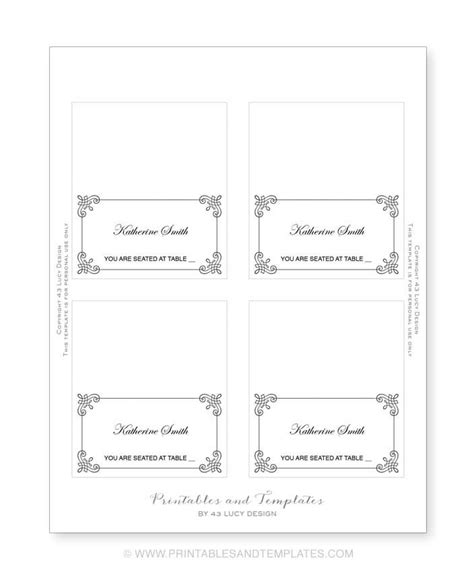 Free Pug Card Template by Free Place Card Templates 6 Per Page Eventticketsprinting Co