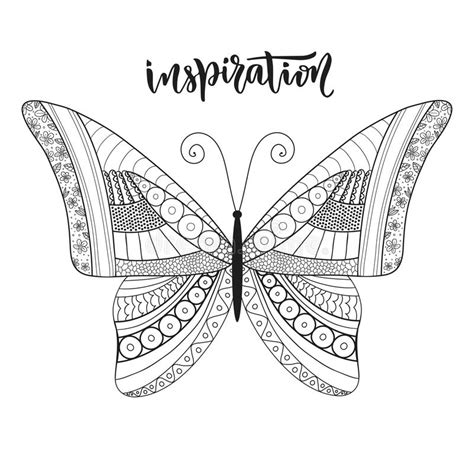z coloring book for and adults 40 illustrations books butterfly zentangle design with lettering stock vector