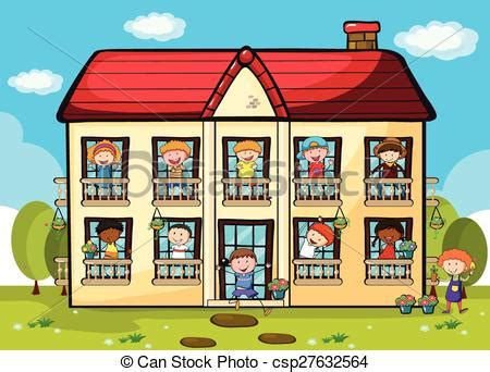 Drawing House Plans Free by Clip Art Vector Of Apartment Many People Living In Big