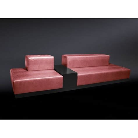 Italian Baby Pink Crocodile Leather Sofa With Integrated Table