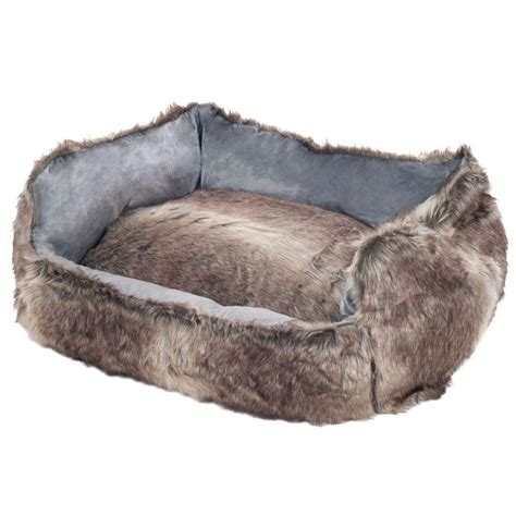 petmaker small faux fur gray wolf dog bed 80 1001 m the