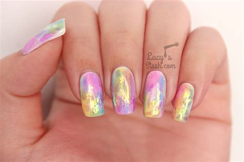 rainbow opal nails tutorial the shattered glass