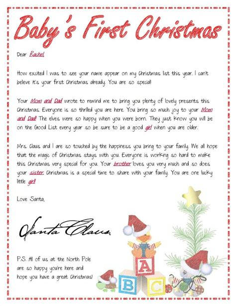 printable baby s first christmas letter from santa pin by tiffany zolman on fun things all yr through pinterest