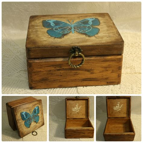 Wooden Decoupage Box - butterfly box jewelry wood box decoupage box butterfly by