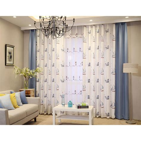 blue nautical curtains blue and white nautical printed linen cotton blend custom