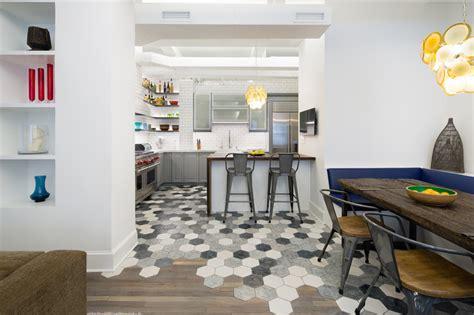 Interior Designed Kitchens by A Creative Way To Transition Between Hexagonal Tiles And