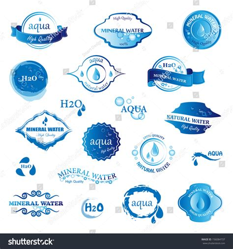 water label design vector water drop labels icons set isolated stock vector