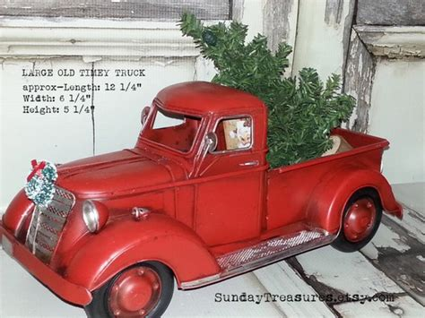 red christmas vintage pick ups for sale large metal fashioned truck decor