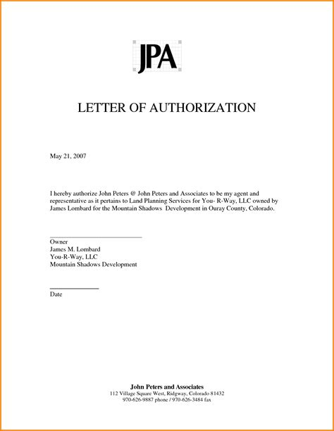 authorization letter for salary representative authorized letter authorization letter pdf