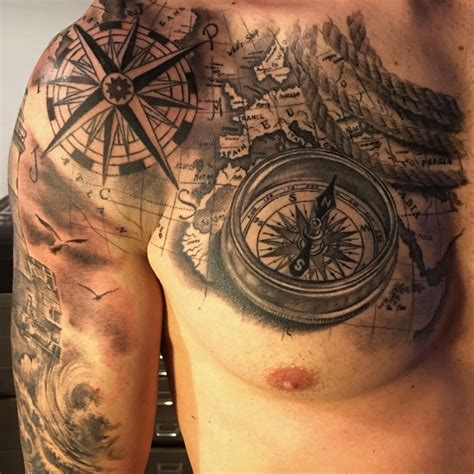 nautical map tattoo compass map by fabrizio converso some of my work