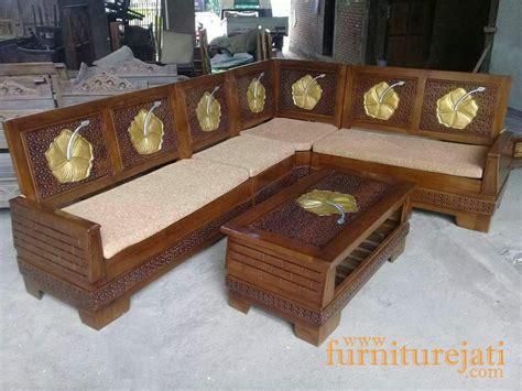 Kursi Tamu Sudut Ukir kursi tamu sudut minimalis bata ukir bunga furniture jati jepara