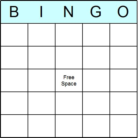Blank Bingo Card Template color 5x5 bingo grid with central free space