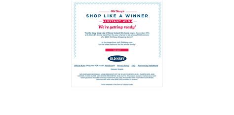 Million Dollar Giveaway Old Navy - old navy shop like a winner instant win game win 1 of 1 000 200 old navy shopping
