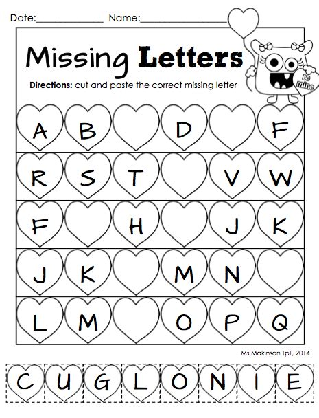 printable alphabet missing letters february printables kindergarten literacy and math