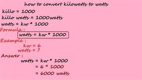 how to convert kilowatts to watts electrical calculation
