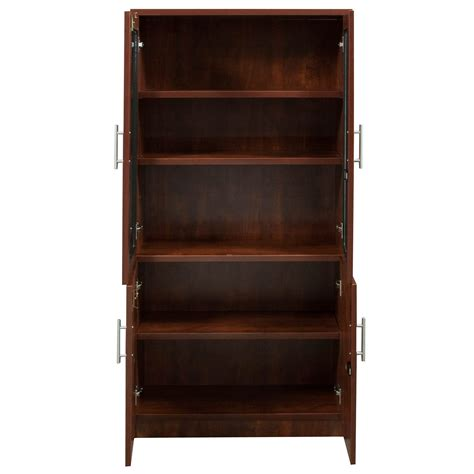 everyday 65 in laminate bookcase with glass doors cherry