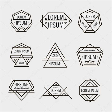 retro line hipster geometric logos stock vector 69211051