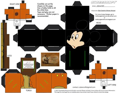 Mickey Mouse Papercraft - xmas8 bob cratchit cubee by theflyingdachshund on deviantart