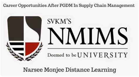 Supply Chain Mba Ranking by Nmims Pg Diploma Supply Chain Management Distance
