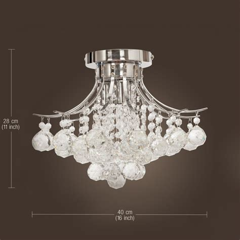 Flush Chandelier Ceiling Lights Chrome Finish Chandelier With 3 Lights Mini Style Flush Mount Ceiling Light Fixture