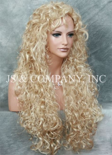 extra curly  long blonde mix wig