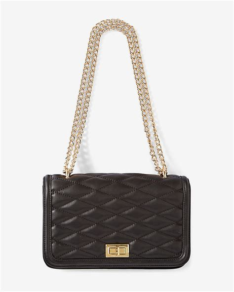 Chain Quilted Shoulder Bag express quilted chain shoulder bag in black