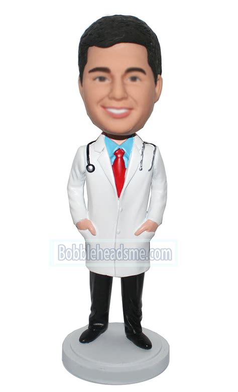 doctor p bobblehead personalized bobblehead doctor in coat with stethoscope
