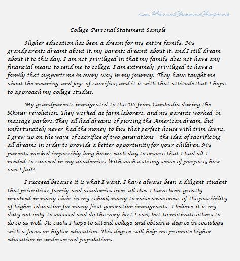 personal statement sections write a personal statement for college by