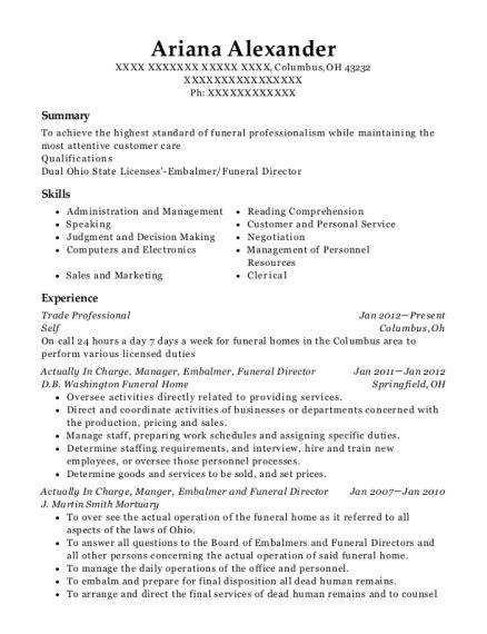 best embalmer funeral director resumes resumehelp