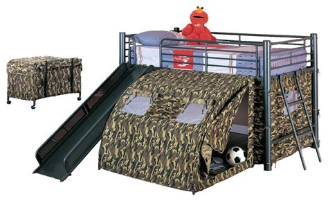 twin bed frame for boy boys fun play lofted twin bunk bed with slide camouflage