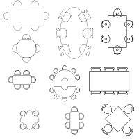 cad tisch tische verschiedene formen dwg cadobjekte