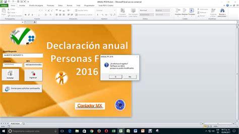 declaracion anual pf en excel declaraci 243 n anual de personas f 237 sicas en excel youtube