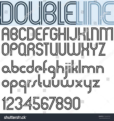 design lines font double line retro style geometric font stock vector