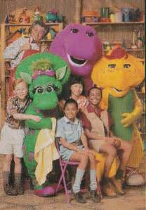 the cast from barney s imagination island by