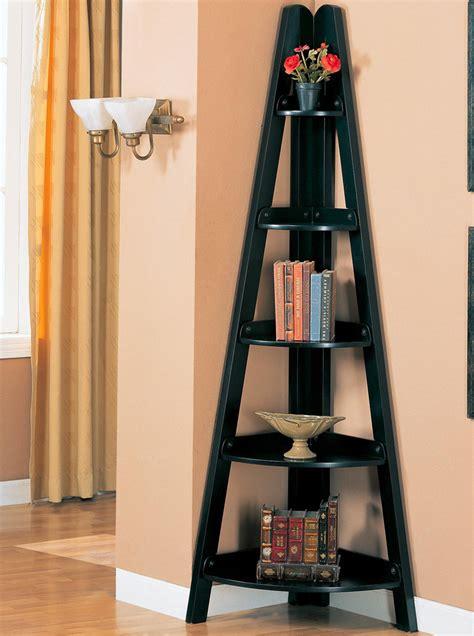 rubbed black finish home office corner shelf bookcases