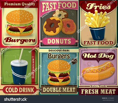 poster design kit vintage fast food poster design set stock vector 212764693
