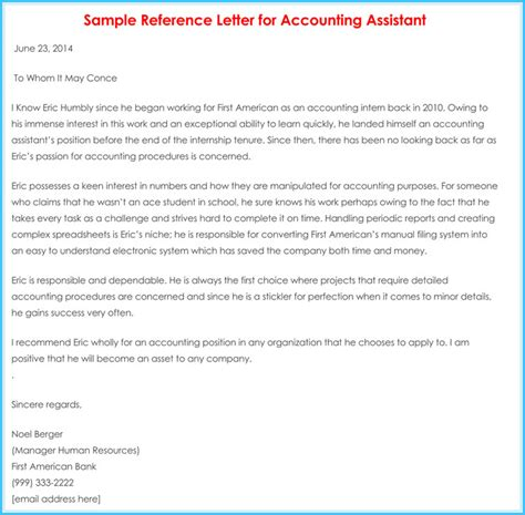 Reference Letter Template Accountant accountant reference recommendation letters 15 sles formats