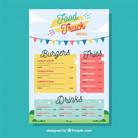 food truck menu template food truck menu template with happy style vector free