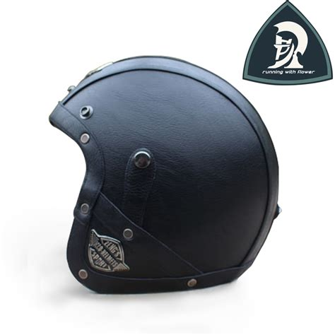 Helm Retro Leather Black cheapest and mens black retro pu leather open