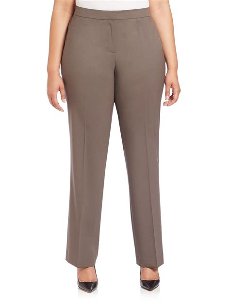 lafayette 148 new york barrow stretch wool pants in brown