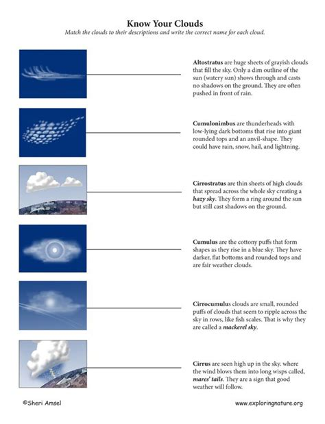 Cloud Types Worksheet by Types Of Clouds Match C1 W23 Cc Cycle 1