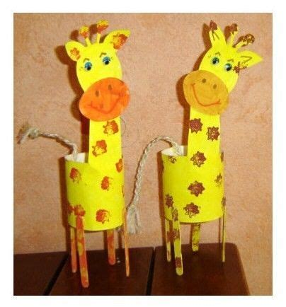 giraffe with paper tube, cardstock, craft sticks and twine