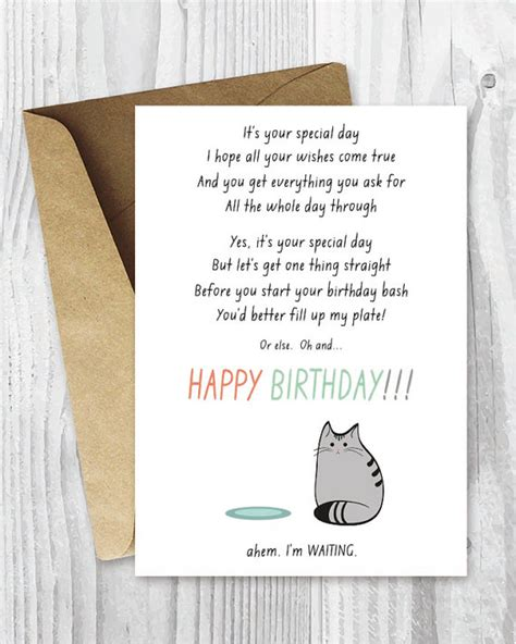 printable birthday cards cats birthday card from the cat printable funny happy birthday