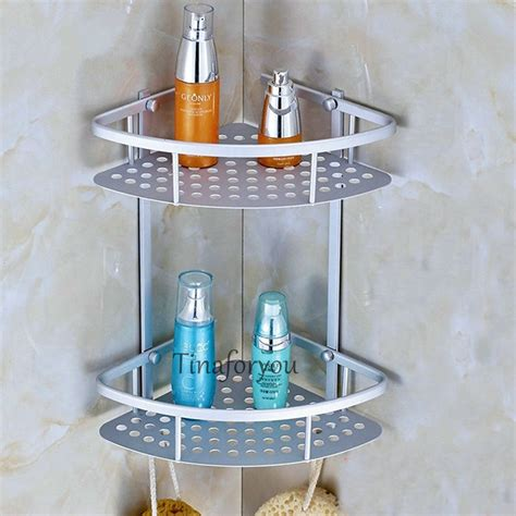 Corner Shelves For Bathroom Wall Mounted Bathroom Wall Mounted Aluminium Corner Shelf Bath Accessorie Storage Holder Rack Ebay