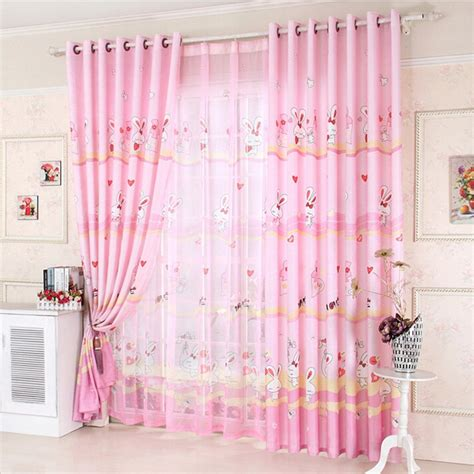 pink and yellow curtains cute rabbit pattern kids room curtains polyester fabric in