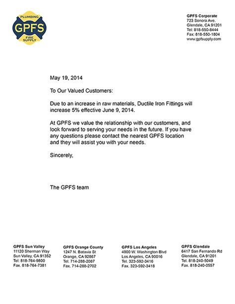 Professional Price Increase Letter