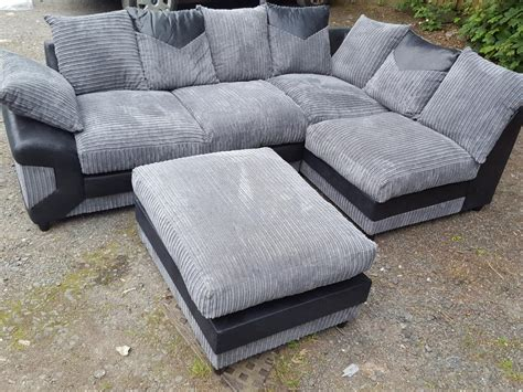black cord sofa 1 month old black and grey cord corner sofa and footstool