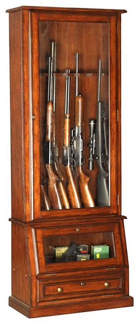 wood 12 gun cabinet with slanted base afc 898